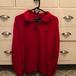 Ralph Lauren Red Quarter Zip Sweatshirt